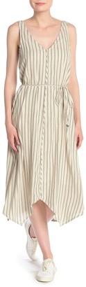 Splendid Striped Tie Waist Asymmetrical Hem Midi Dress