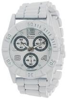 Geneva Platinum Women's Round Face Chronograph Metal Link Watch - White