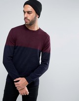 French Connection Crew Neck Color Block Knitted Sweater
