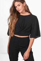 boohoo Womens Freya Tie Back Woven Top in Black size 12