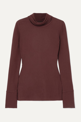 Joseph Jersey Turtleneck Top - Burgundy