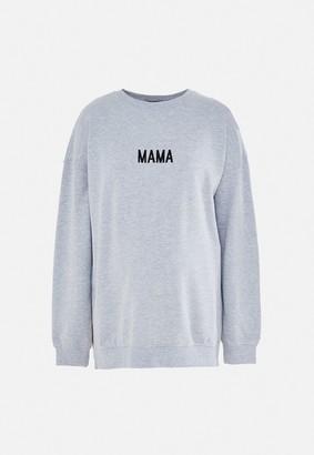 Missguided Grey Marl Mama Slogan Maternity Sweatshirt