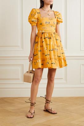 Agua Bendita Pomelo Printed Linen Mini Dress - Saffron