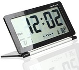 Tzou Multifunction Silent LCD Digital Large Screen Travel Desk Electronic Alarm Clock, Date/Time/Calendar/Temperature Display, Snooze, Folding (Black+Silver)