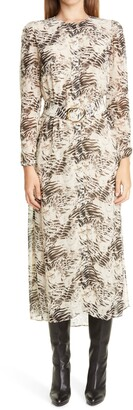 Lafayette 148 New York Neilson Belted Long Sleeve Midi Dress