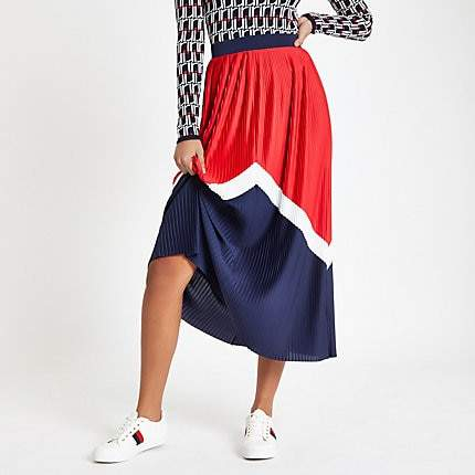 River Island Red pleated chevron midi skirt