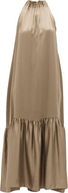 ASCENO Ibiza High-neck Tiered Silk Maxi Dress - Brown