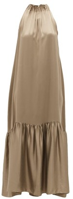 ASCENO Ibiza High-neck Tiered Silk Maxi Dress - Brown