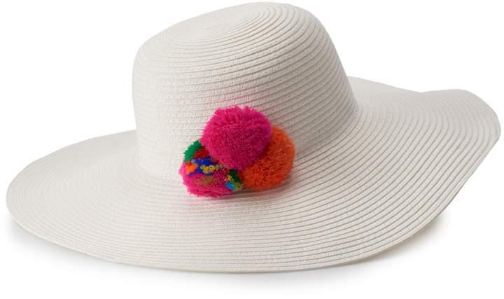 Mudd Juniors' Straw Pom Pom Floppy Hat