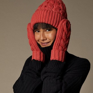 Love & Lore Love And Lore Sustainable Style Eco Cable Knit Mitten Coral