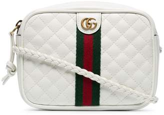Gucci white GG small quilted-leather shoulder bag