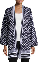 Misook 3/4-Sleeve Printed Knit Jacket, Blue/White