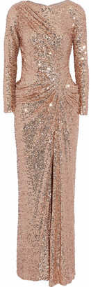 Badgley Mischka Ruched Sequined Tulle Gown