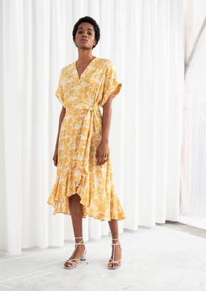 And other stories Cloud Print Ruffled Wrap Dress