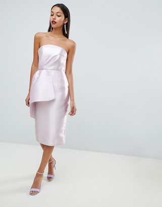 Asos Design DESIGN structured satin fold bandeau midi dress