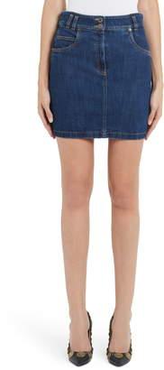 Moschino Embroidered Bear Denim Miniskirt