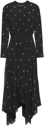 Maje Asymmetric Crystal-embellished Georgette Dress