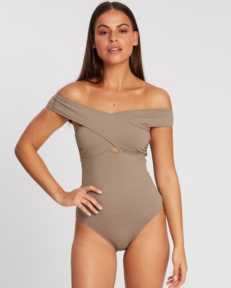 BONDI BORN Women's Neutrals One-Piece Swimsuit - Zara One-Piece - Size One Size, 10 at The Iconic