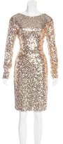 Badgley Mischka Sequin Knee-Length Dress