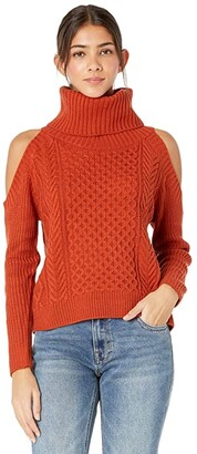 Rock and Roll Cowgirl Sweater Cold-Shoulder 46-7683 (Rust) Women's Clothing