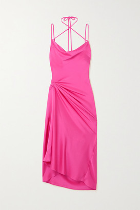 16Arlington Medina Draped Satin Midi Dress - Pink