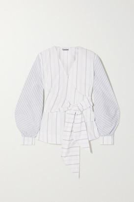 Ganni Striped Cotton-poplin Wrap Blouse - White