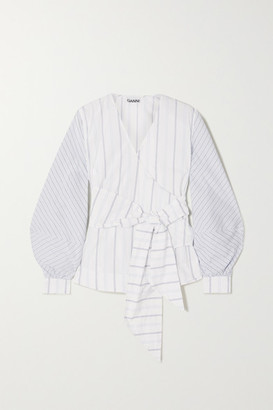 Ganni Striped Cotton-poplin Wrap Blouse - White