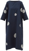 eskandar Scattered Disc Shibori-dyed Cotton Tunic Dress - Womens - Navy White