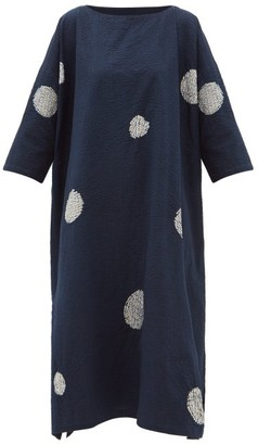 eskandar Scattered Disc Shibori-dyed Cotton Tunic Dress - Navy White