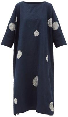 eskandar Scattered Disc Shibori-dyed Cotton Tunic Dress - Womens - Navy White