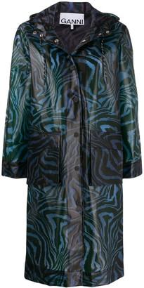 Ganni Swirl Tiger-Print Coat