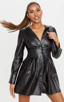 PrettyLittleThing Black Faux Leather Pleat Detail Long Sleeve Shift Dress