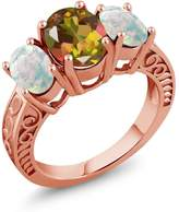 Gem Stone King 3.06 Ct Oval Mango Mystic Topaz White Simulated Opal 18K Rose Gold Plated Silver Ring