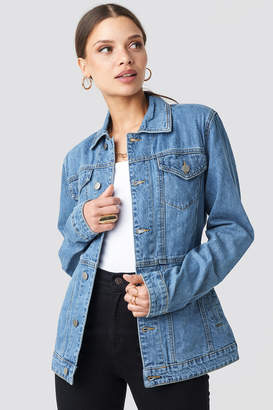 NA-KD Marked Waist Denim Jacket Blue