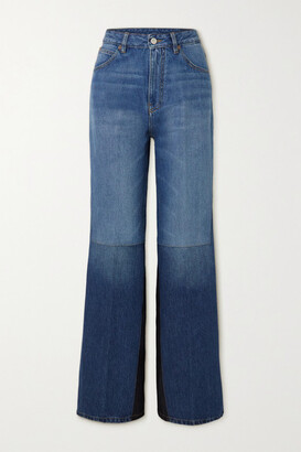Victoria Beckham - Patchwork High-rise Flared Jeans - Mid denim