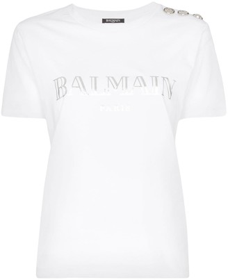 Balmain Logo print button detail cotton T-shirt