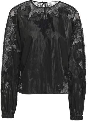 Robert Rodriguez Lace-trimmed Crinkled-satin Blouse