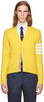 Thom Browne Yellow Classic V-neck Cardigan