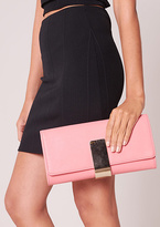 Missy Empire Teagan Pink Leather Gold Detail Clutch