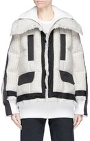 Sacai Colourblock oversized tweed and canvas down puffer jacket