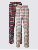 M&S Collection 2 Pack Pure Cotton Checked Pyjama Bottoms