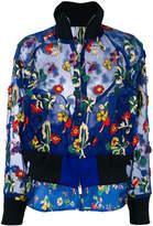 Sacai floral embroidered sheer bomber jacket