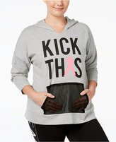 Material Girl Active Plus Size Pink Ribbon Hoodie, Only at Macy's