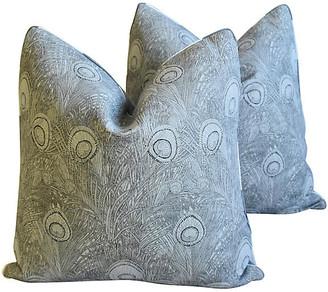 One Kings Lane Vintage Peacock Linen Pillows - Set of 2 - gray/white/black
