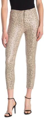 Mother Faux Suede Leopard Print Ankle Cut Pants