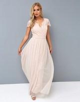 Little Mistress Nude Lace Wrap Maxi Dress