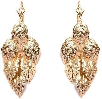 Peermont Jewelry 18k Gold Overlay Teardrop Hoop Earrings with Beeded Chandelier Drop