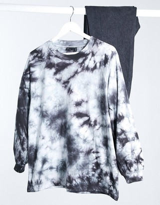 ASOS DESIGN oversized T-shirt with long sleeve in mono tie dye