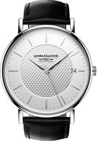 Ambassador Heritage 1921 Silver Case with Black Leather Strap Men's Watch