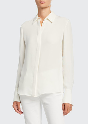 Loro Piana Hely Silk Button-Front Blouse
